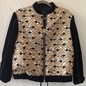 Topshop Velvet & Gold Embroidered Bomber Jacket